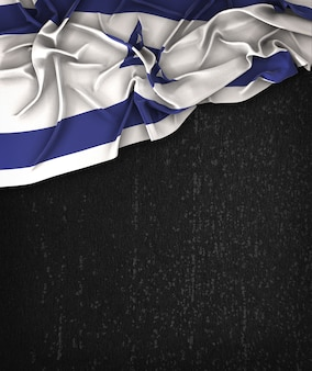 Israël Vlag Vintage op een Grunge Black Chalkboard Met Ruimte Voor Tekst