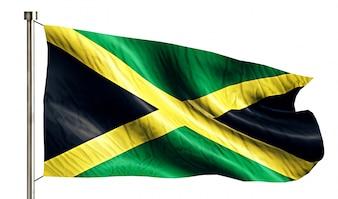 Jamaica Nationale Vlag Geïsoleerde 3D Witte Achtergrond