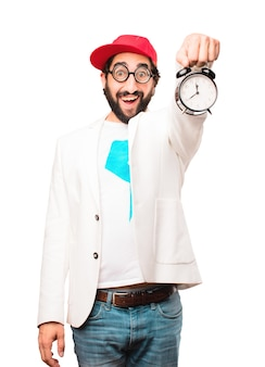 Jonge gekke zakenman met een klok
