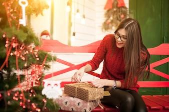 Jurk gelukkig jaar kerstportret