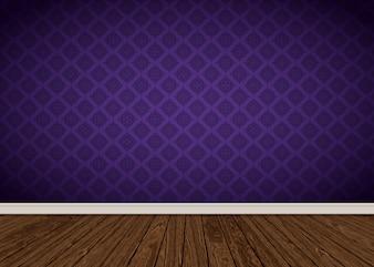 Kamer interieur met paars damast behang en houten vloer