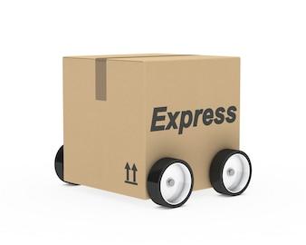 Kartonnen voertuig met vier wielen