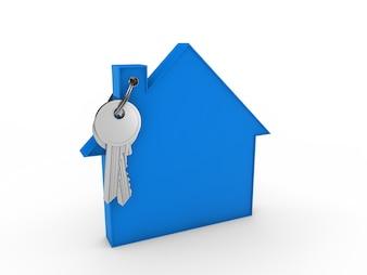 Key met sleutelhanger blauw huis