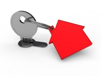 Key met sleutelhanger rode huis