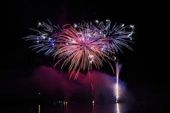 Kleur vuurwerk in de nachtelijke hemel