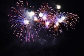 Kleurrijke vuurwerk op de zwarte hemel
