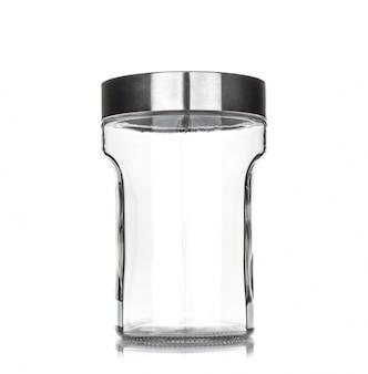 Kruik van het glas met metalen deksel