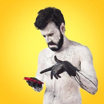 Monster bedrijf telefoon op kleurrijke achtergrond