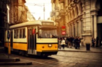 Mooie Europese Italiaanse Straat Defocused Sunset. Horitzontal. Italië, Milaan.
