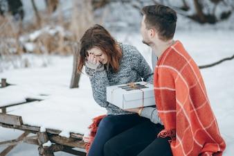 Paar in de winter