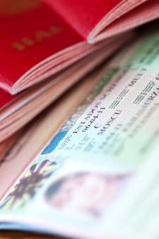 Paspoorten met Schengen visum