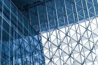 Perspectief moderne architectuur glazen gebouw