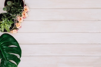 Planten en blad op houten oppervlak met ruimte