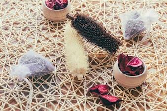 Plantenkegels en rozenblaadjes