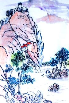 Plantkunde rode natuur bloei schilderij grafisch