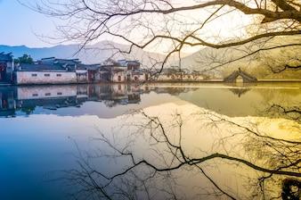 Residentiële Chinese scene oosterse rustige cultuur
