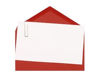 Rode envelop met wenskaart