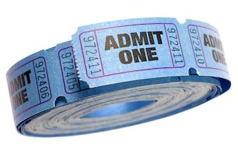 Rol van blauwe toegeven een ticket