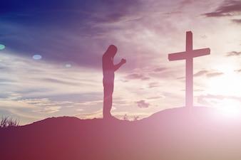 Silhouet redder religie ziel begraafplaats