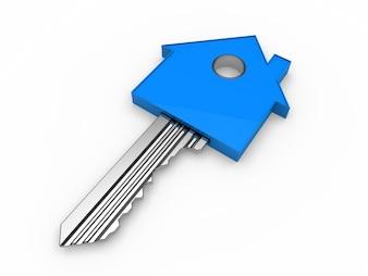 Sleutel in de vorm van een blauwe huis