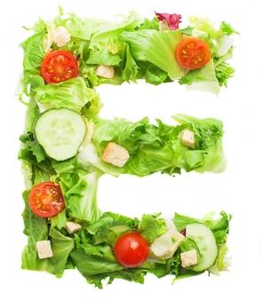 Smakelijk letter e gemaakt met verse groenten