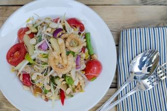 Som Tum, Papaya Salade Met Witte Rijst Noodle, Thais Eten, Thailand