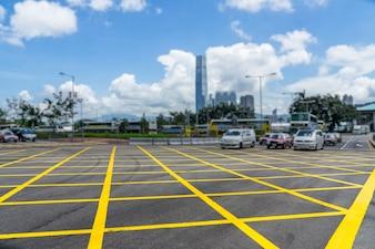 Straten en taxi's in Hongkong