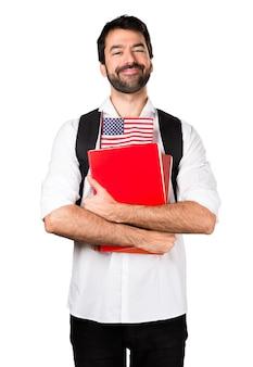 Student man met een Amerikaanse vlag