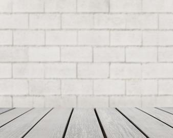 Tafeloppervlakte kijken naar grijze bakstenen muur