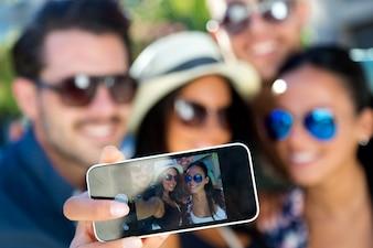 Technologie glimlach lachen geluk tiener