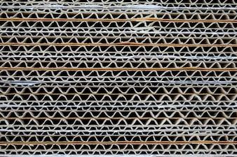 Textuur van gestapelde golfkarton abstracte achtergrond