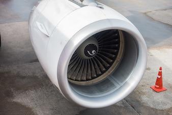 Turbine motor van vliegtuig.