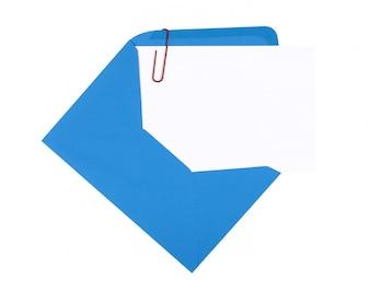Uitnodigingskaart met blauwe envelop