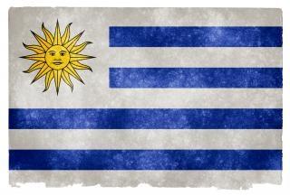 Uruguay grunge vlag geel