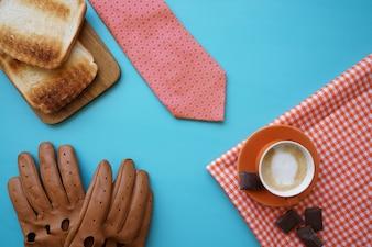 Vaderdag compositie met koffie en andere elementen