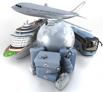 Vliegtuig wereld bagage bus schip