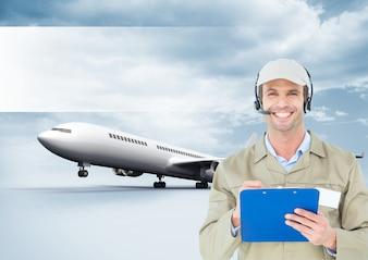 Vlucht computer grafische vliegtuig draadloze cap