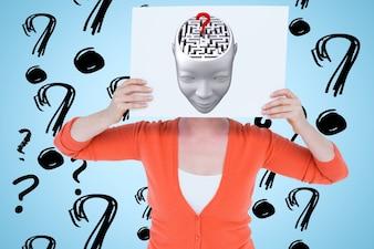 Vrouw met een poster met een tekening van een hoofd