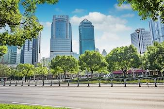 Wandelen naar het centrum bedrijf azië stadsbeeld