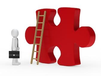 Werknemer naast een groot stuk van de puzzel
