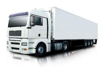 Wielvrachtwagen snelweg weg auto
