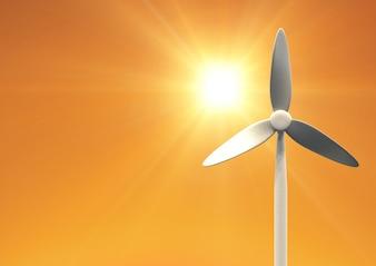 Windturbine trophy overwinning rustige scène schoonheid in de natuur