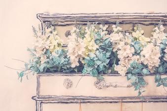 Witte kunstbloemen keuken bloemen