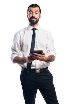 Zakenman met een tablet
