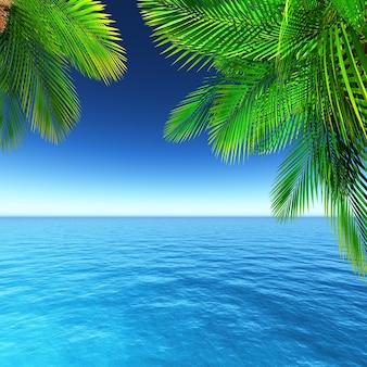 Zomer landschap met palmbomen