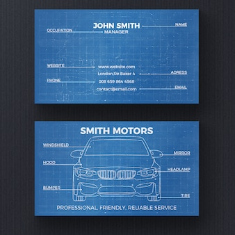 Auto blauwdruk visitekaartje sjabloon