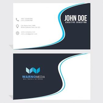Blauwe en witte visitekaartje met golvende vormen