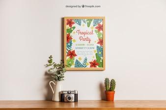 Bloemen decoratie van frame mockup