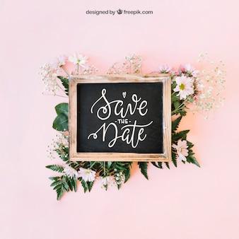 Bruiloft en leisteen decoratie