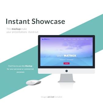 Computer scherm op groene en witte achtergrond mock up